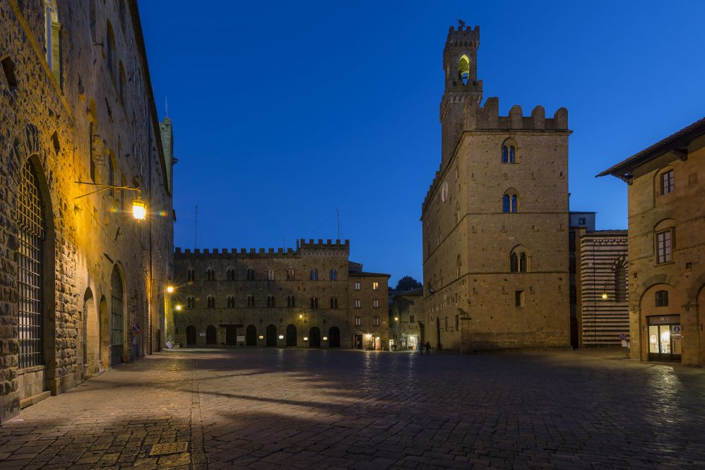 Italian quintessential piazza, sky near dark after dusk