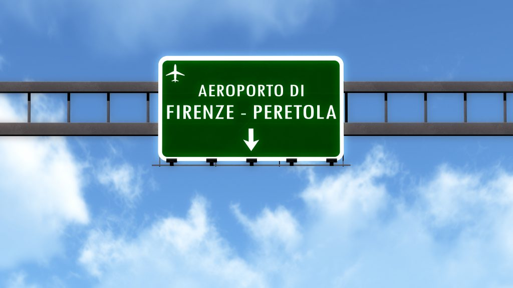 Rendered road sign pointing to the airport of Florence - Peretola