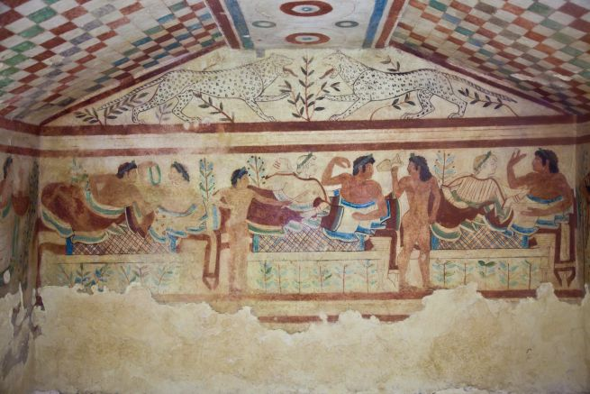 Ancient frescoes in a Etruscan tomb | What to do in Tuscany | Tuscan Wanders Travel Blog