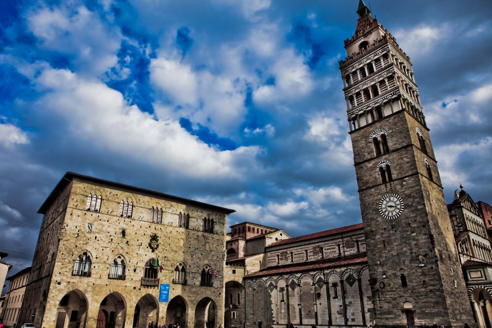 The church and the bell tower in the central place of Pistoia | Best towns to visit in Tuscany | Tuscan Wanders Travel Blog