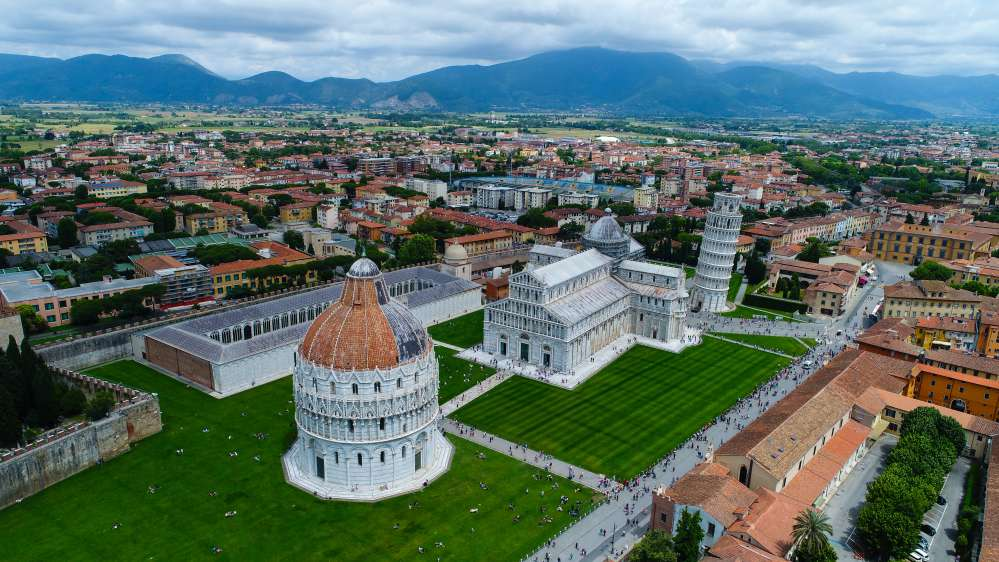 Aerial view of Campo dei miracoli   Leaning tower of Pisa facts