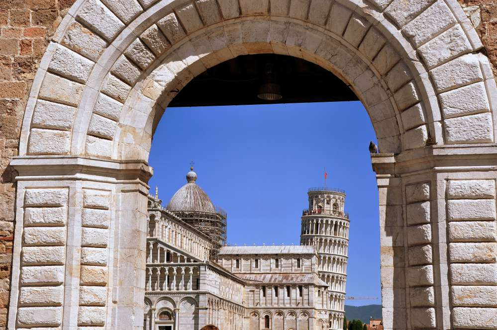 The entrance to the Campo dei Miracoli   Leaning tower of Pisa facts