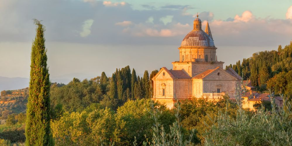 San Biagio Church at dusk | What to see and do in Montepulciano