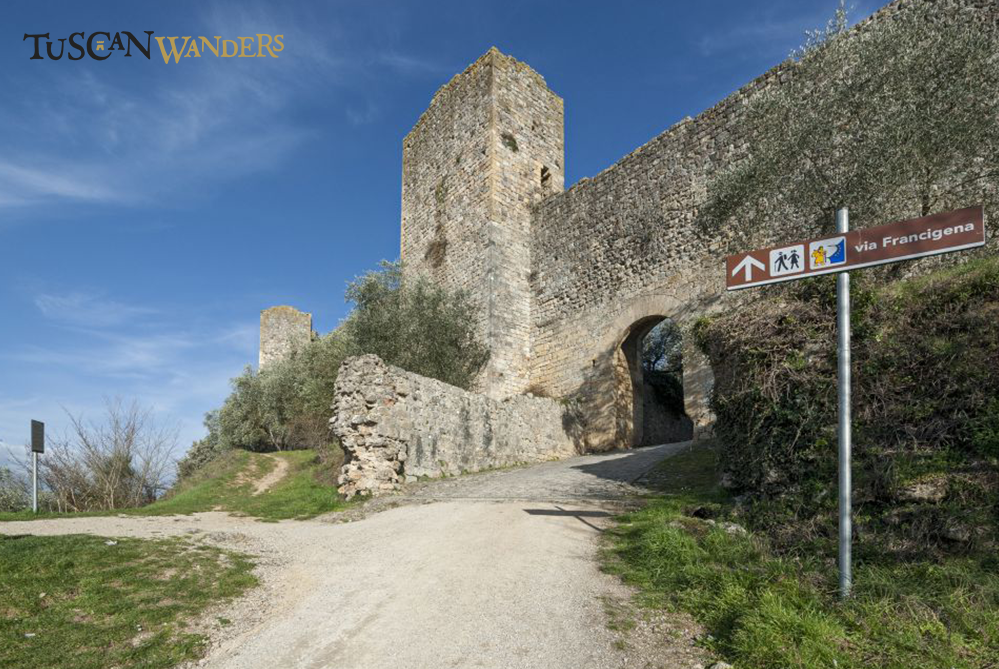 Access road to Monteriggioni with view of a tower