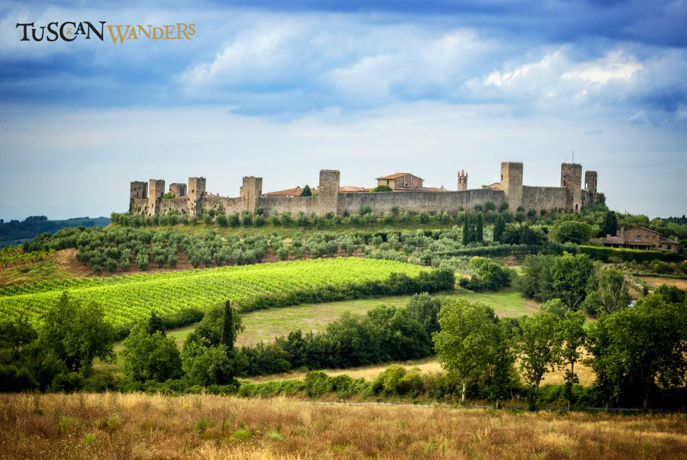 View of Monteriggioni on top of the hill