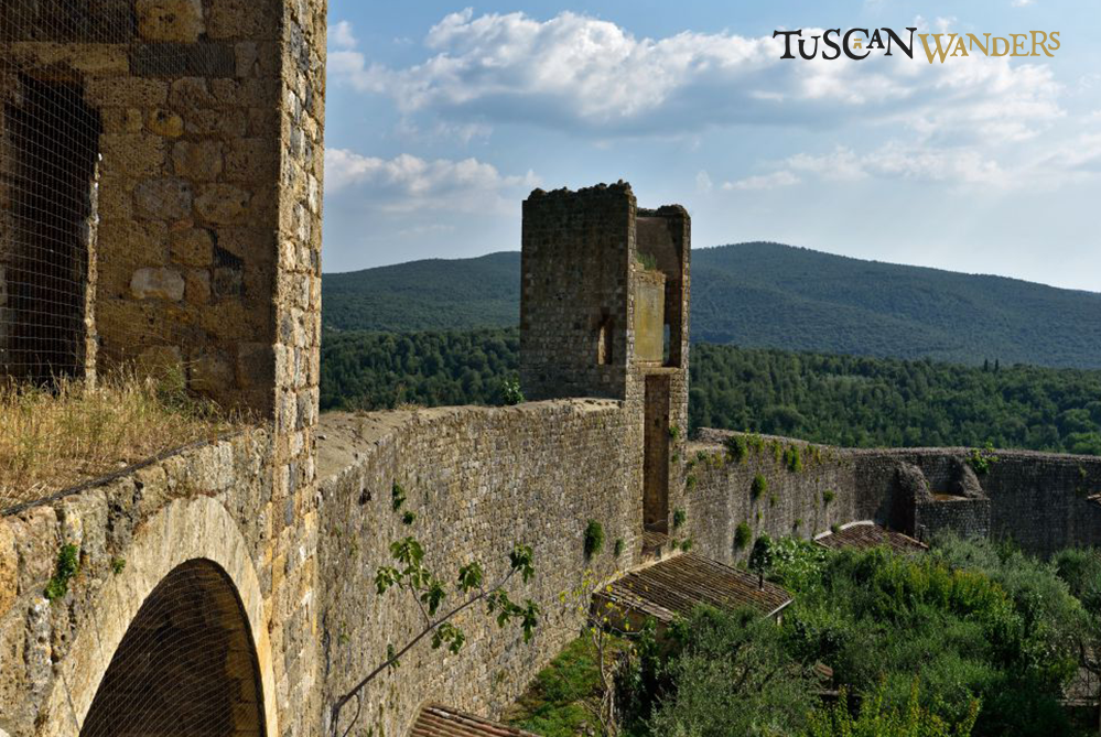 Monteriggioni walls from above with landscape view