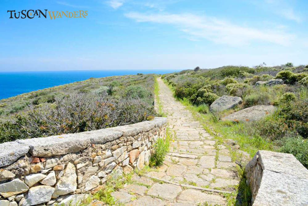 Paved path with sea background