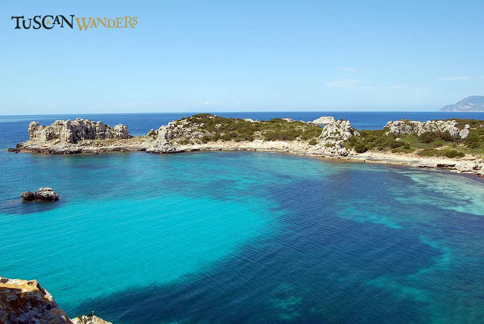 Landscape of Pianosa with turquoise sea