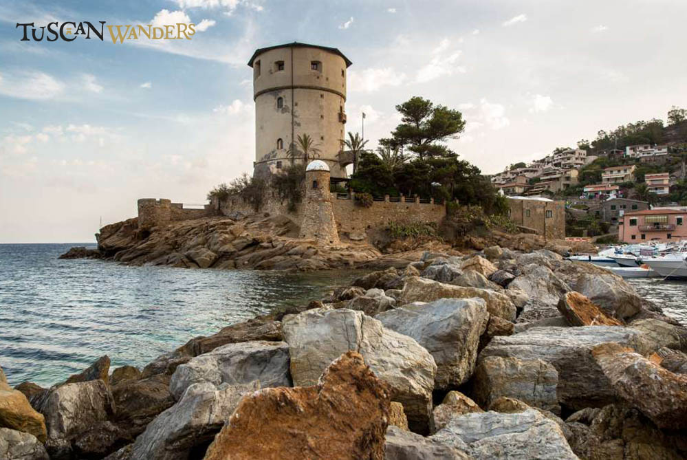 Medieval tower on rocky seaside