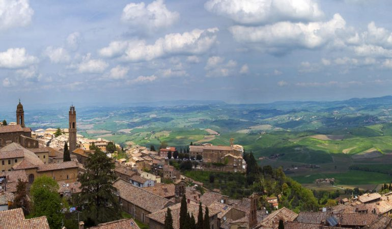 Montalcino is atop a hill from where you can admire the Val d'Orcia landscape