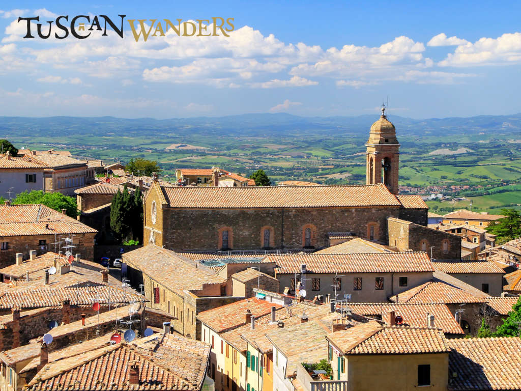 The church of Saint Augustin in Montalcino view from far