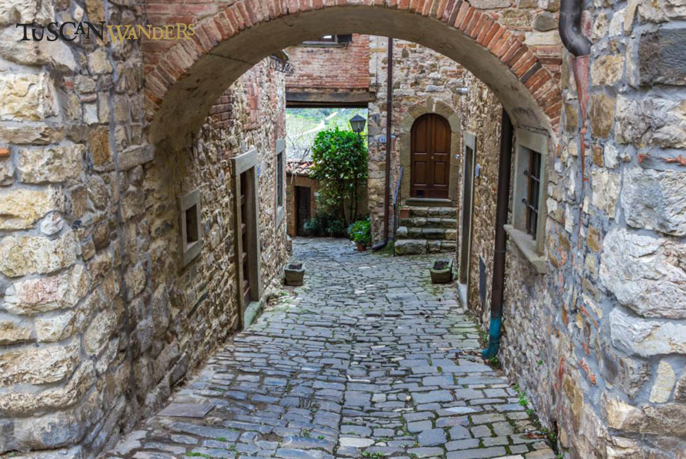 A narrow Medieval street in Montefioralle