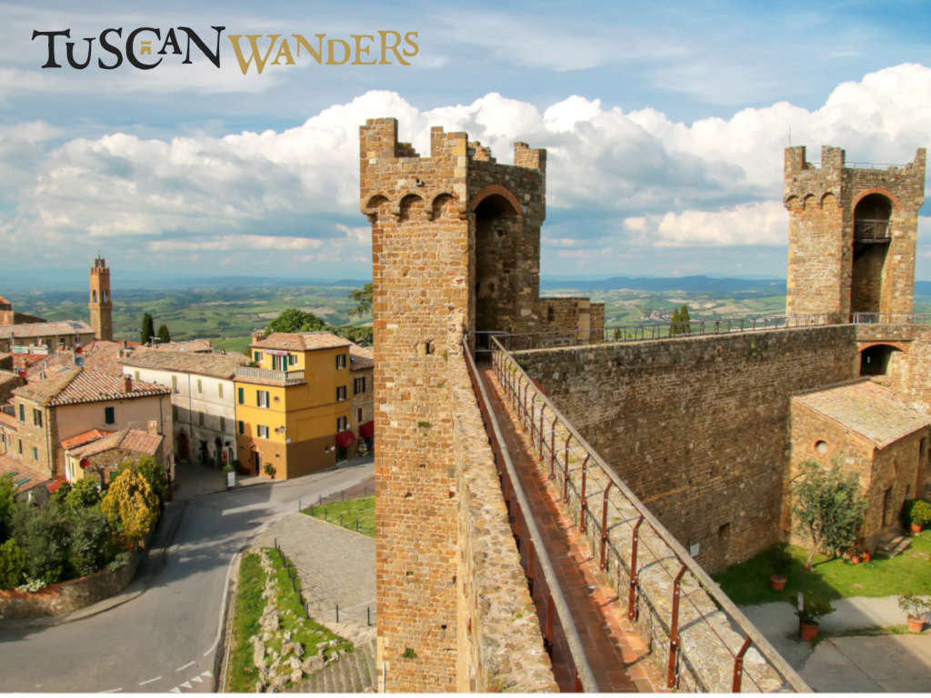 Landscape of Val d'Orcia from the top of the Montalcino fortress walls