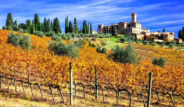 An autumnal visit to Castello Banfi will stun you with gorgeous colors
