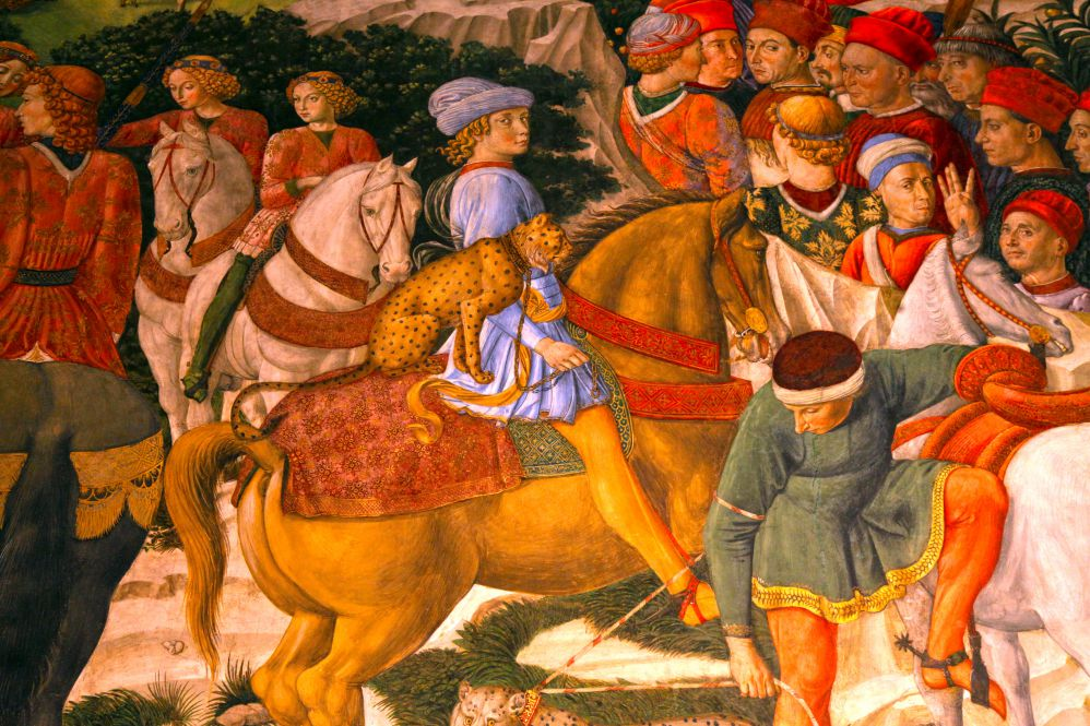 Fragment of medieval fresco in Palazzo Medici Riccardi, Florence, Italy