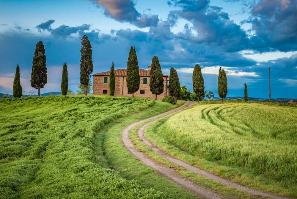 Brick house, surrounded by cypresses in the countryside