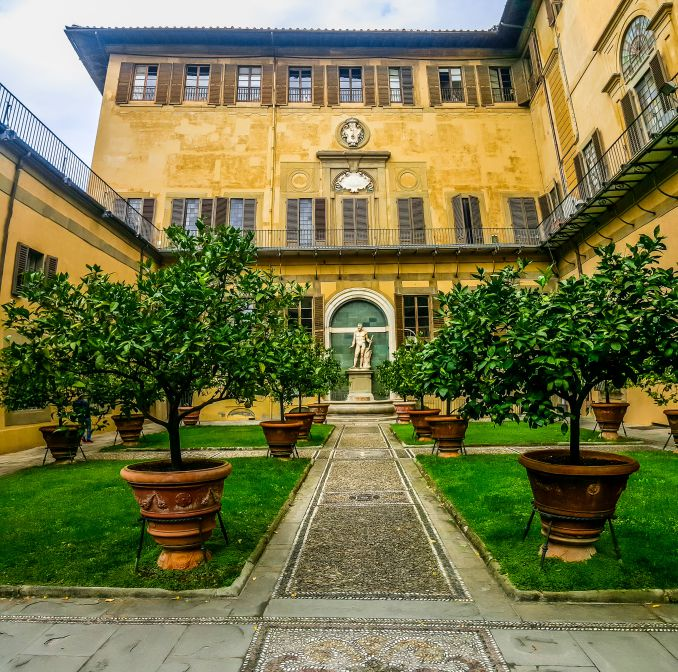 A court of Palazzo Medici Riccardi in Florence with lemon trees in pots