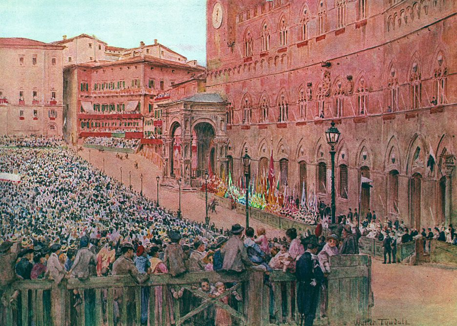 An old picture representing the Palio di Siena horse race in 1913