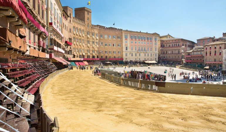 Piazza del Campo being transformed in a racetrack