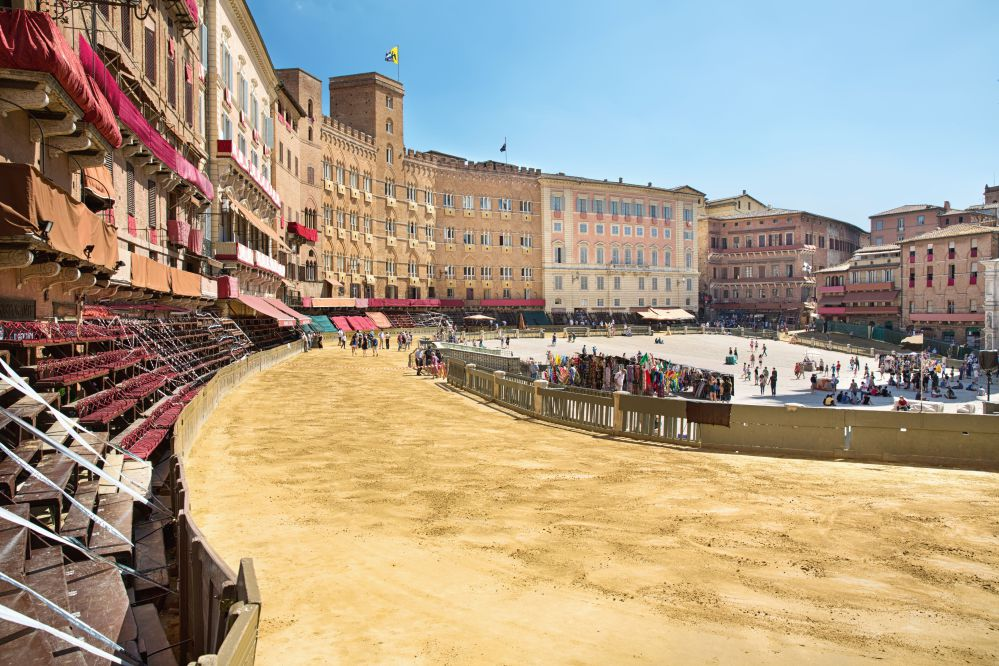 Piazza del Campo with sand, in the preparation of the Palio horse race