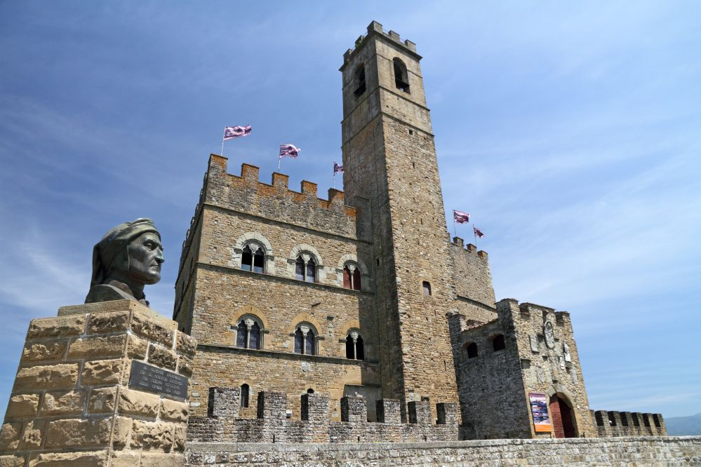 A view of the Castle of Poppi with the monument of Dante Alighieri