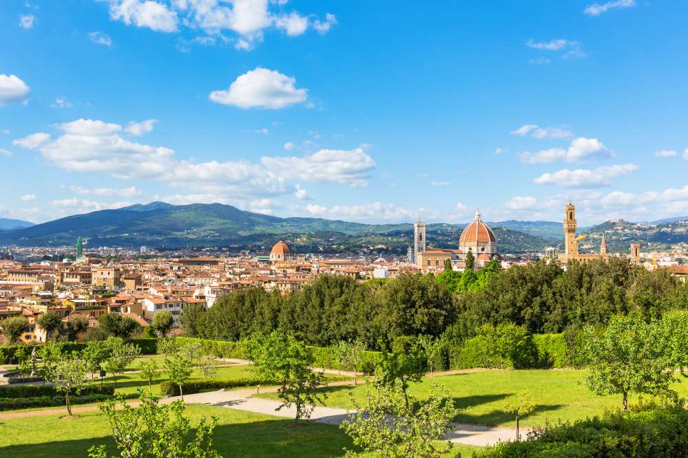 View of Florence with mountains from the Boboli Gardens