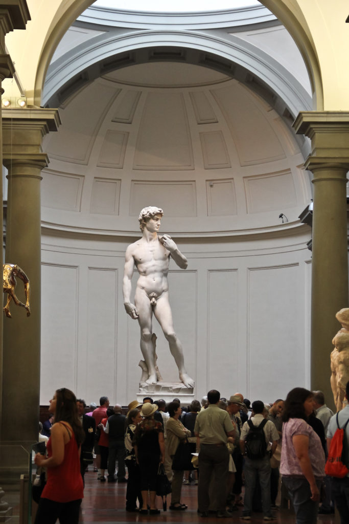 Michelangelo's David, original at the Gallerie dell'Accademia in Florence, front view