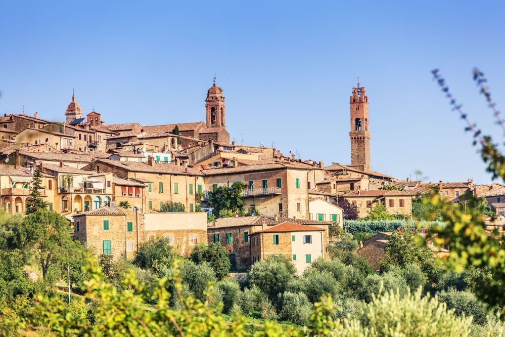 The beautiful village of Montalcino in a sunny day