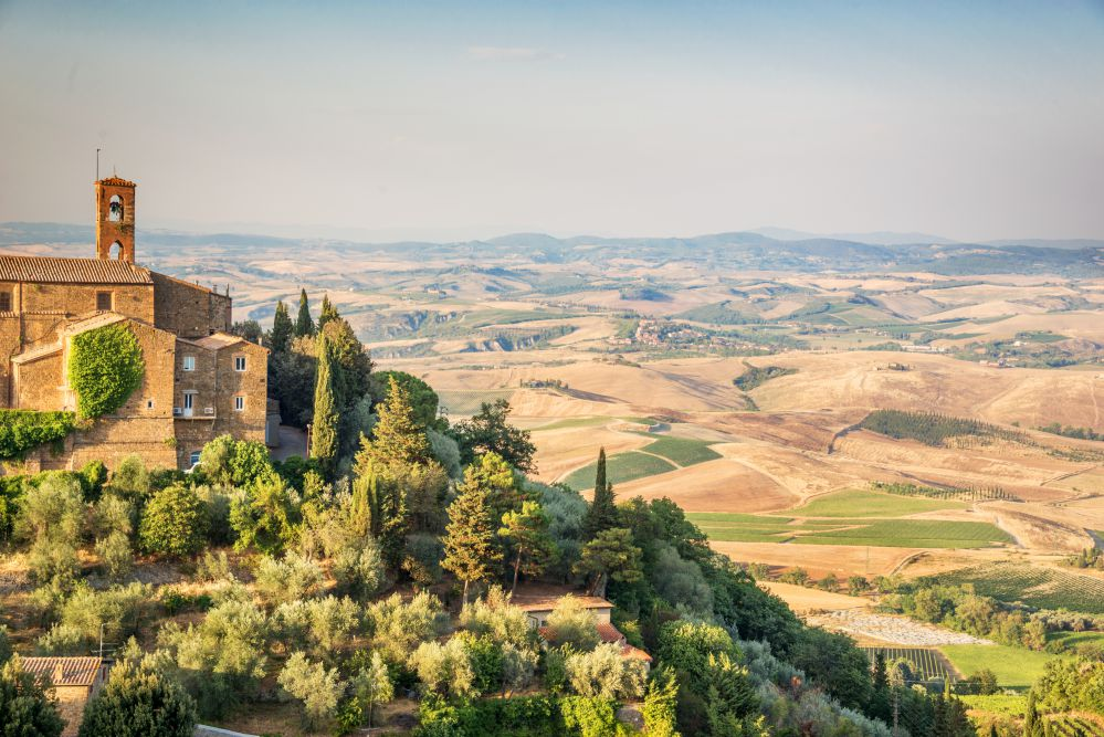 The landscape from the city of Montalcino over Val d'Orcia
