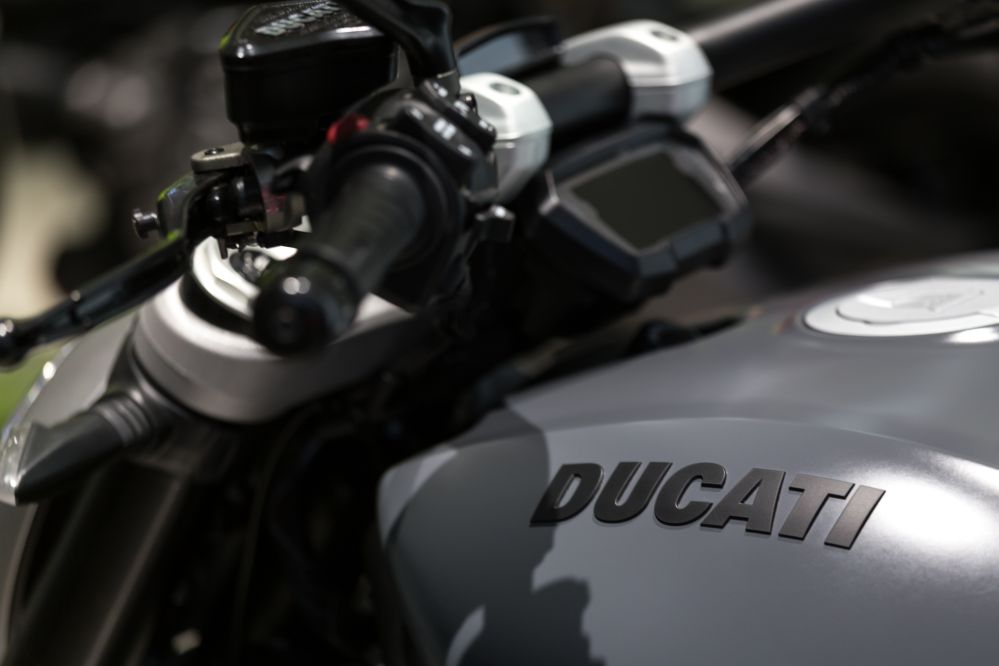 The Ducati logo on a Ducati Motorbike