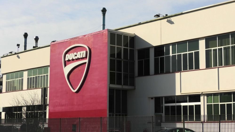 Ducati Factory entrance. The museum is nearby