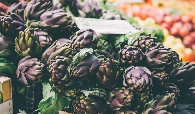 At Italian food markets you will find lots of artichokes.