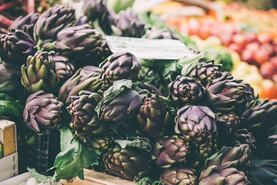 Artichokes on a market stall in Florence