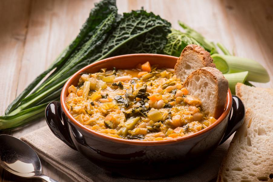 A ribollita soup in its typical earthenware pot