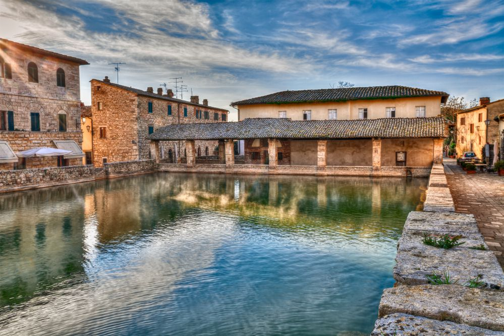 The central pool in Bagno Vignoni is a hot spring